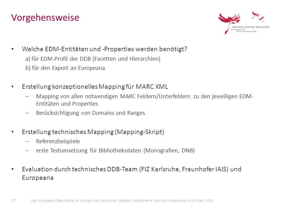 Vorgehensweise Welche EDM-Entitäten und -Properties werden benötigt