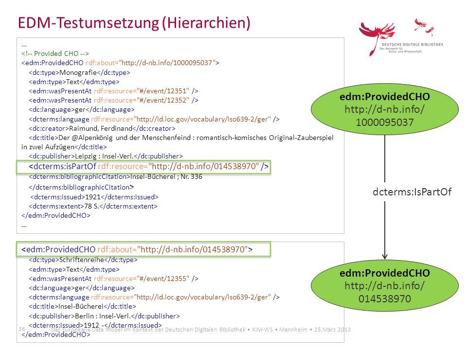 EDM-Testumsetzung (Hierarchien)