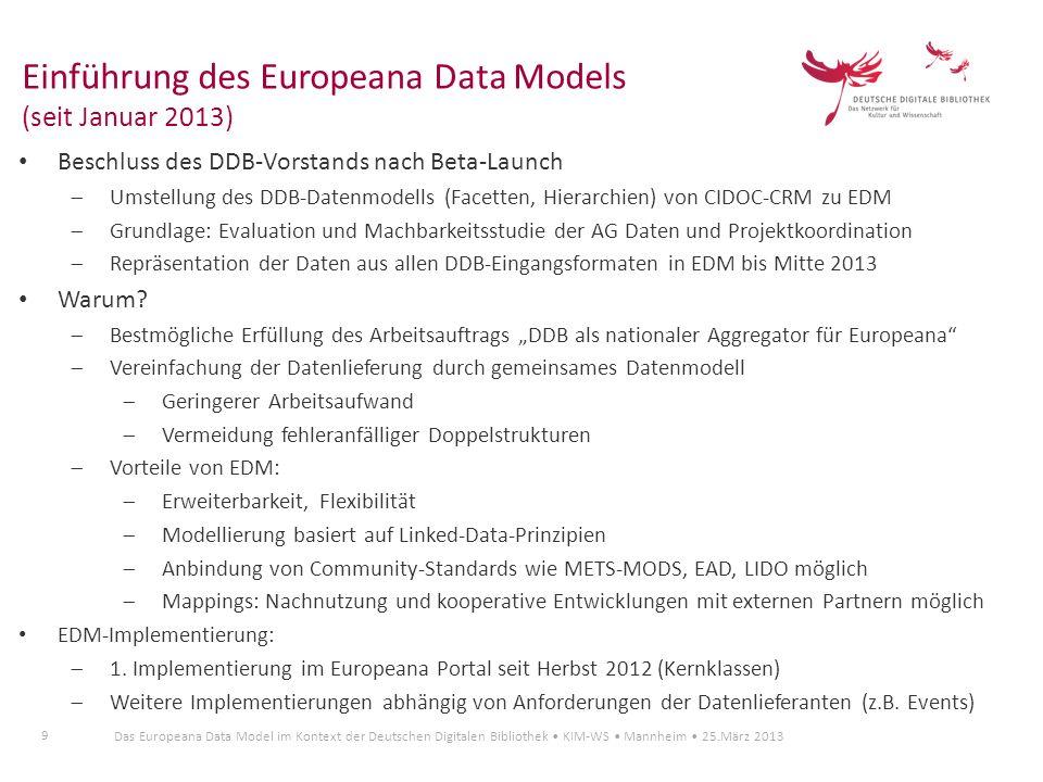 Einführung des Europeana Data Models (seit Januar 2013)
