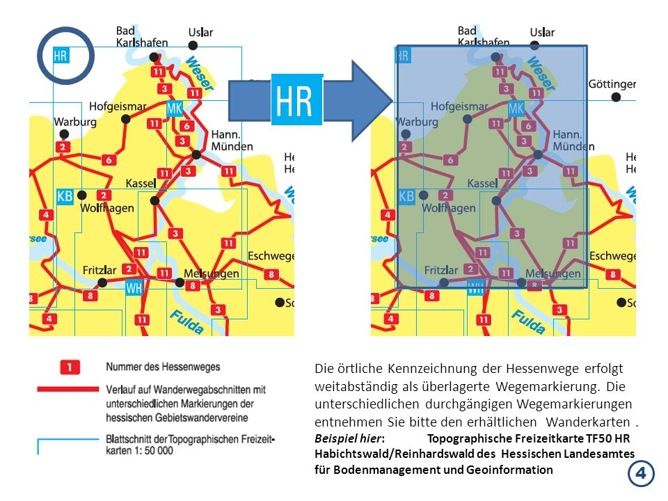 Die örtliche Kennzeichnung der Hessenwege erfolgt weitabständig als überlagerte Wegemarkierung. Die unterschiedlichen durchgängigen Wegemarkierungen entnehmen Sie bitte den erhältlichen Wanderkarten .