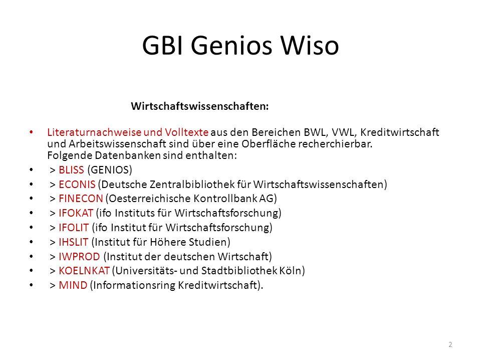 GBI Genios Wiso Wirtschaftswissenschaften: