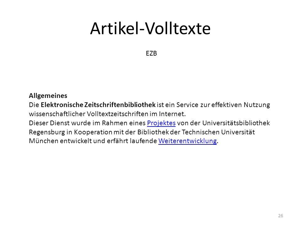 Artikel-Volltexte EZB Allgemeines