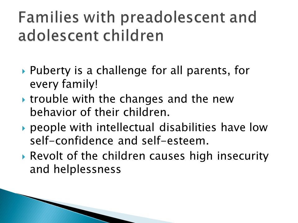 Families with preadolescent and adolescent children
