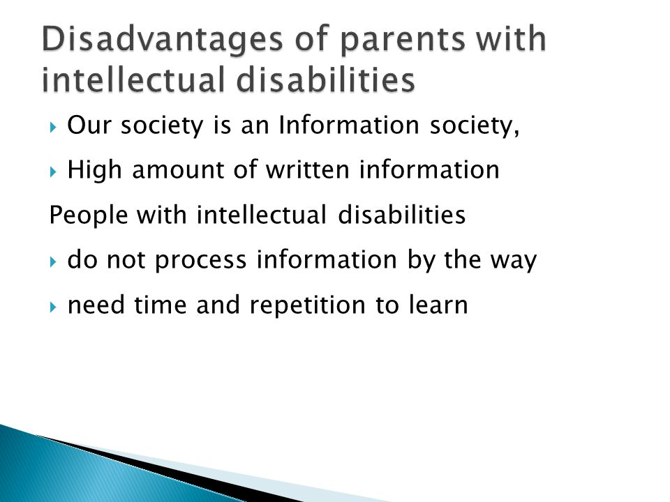 Disadvantages of parents with intellectual disabilities