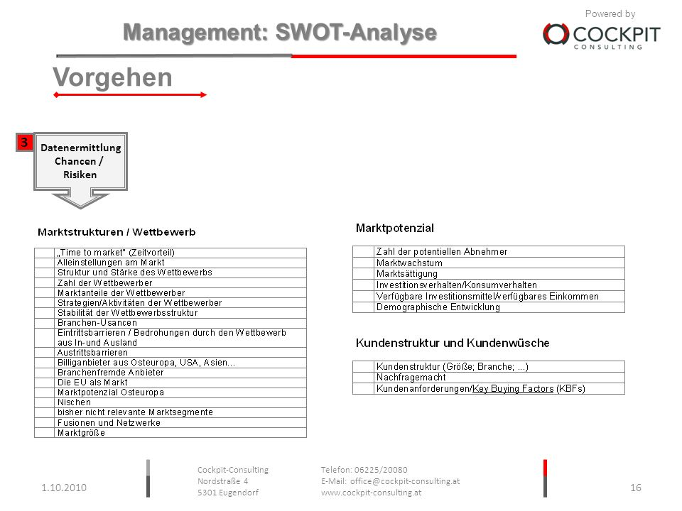 Vorgehen 3 Datenermittlung Chancen / Risiken 1.10.2010