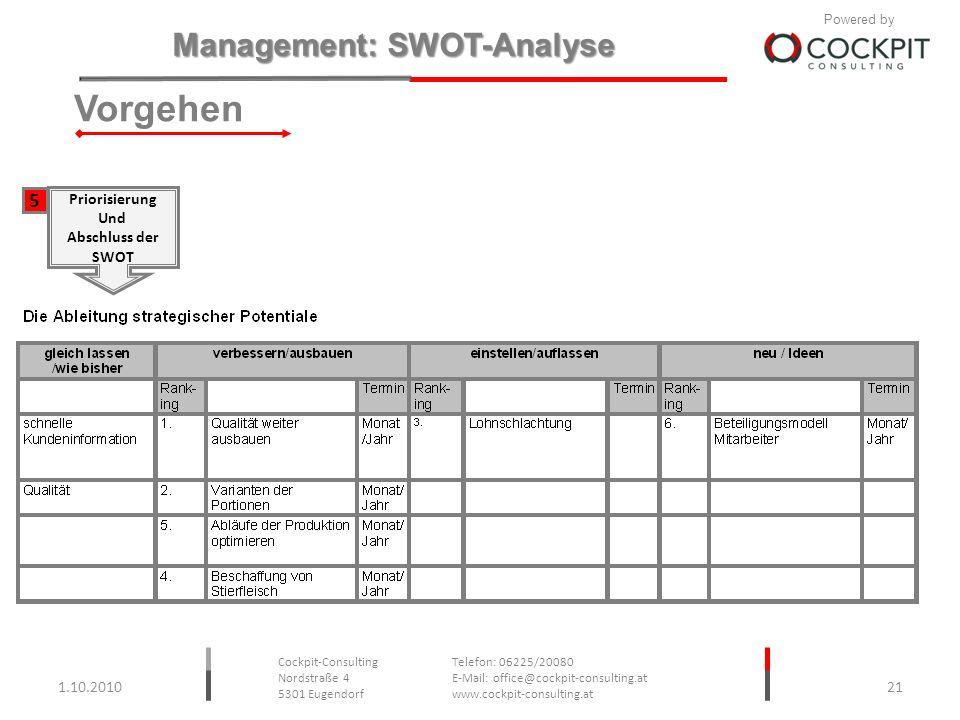 Vorgehen 5 Priorisierung Und Abschluss der SWOT 1.10.2010