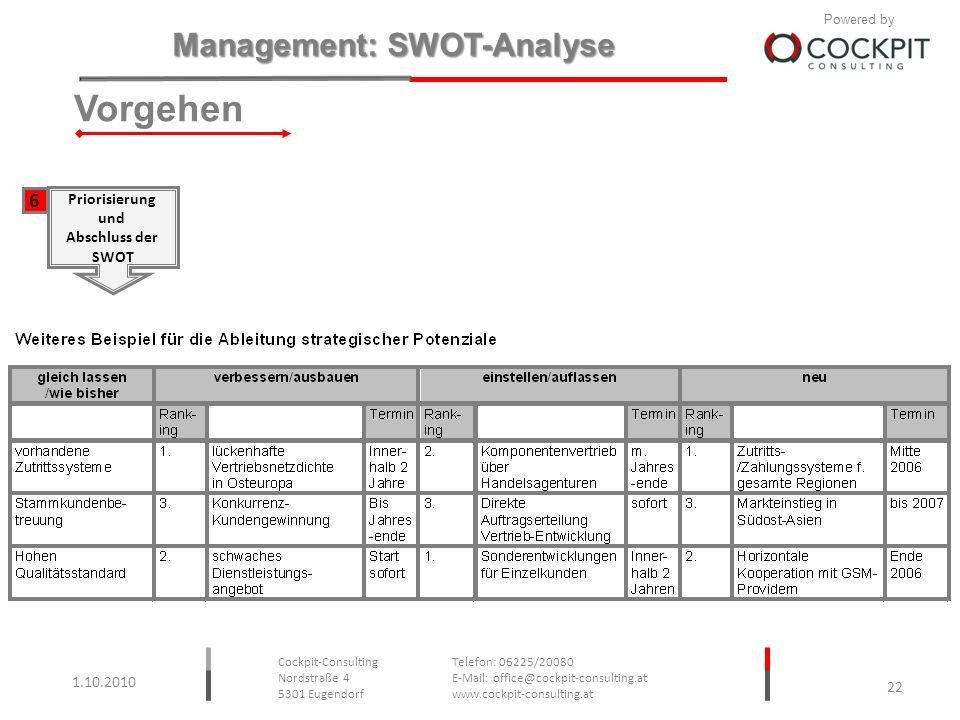 Vorgehen 6 Priorisierung und Abschluss der SWOT 1.10.2010