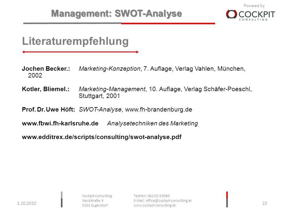 Literaturempfehlung Jochen Becker.: Marketing-Konzeption, 7. Auflage, Verlag Vahlen, München, 2002.