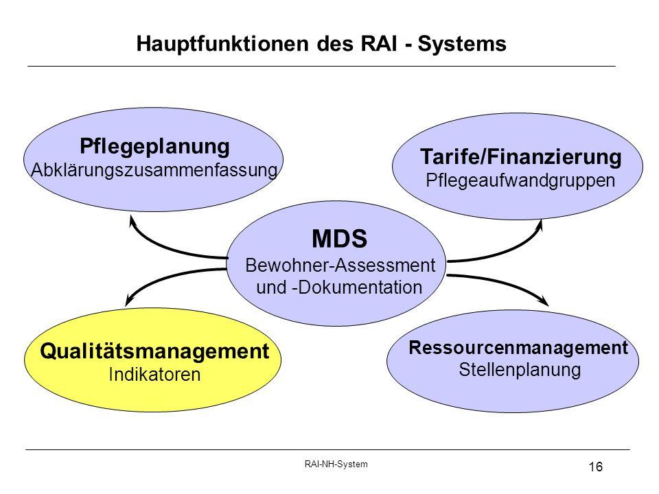 Hauptfunktionen des RAI - Systems