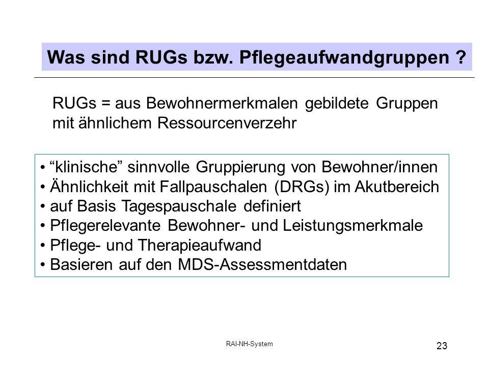 Was sind RUGs bzw. Pflegeaufwandgruppen