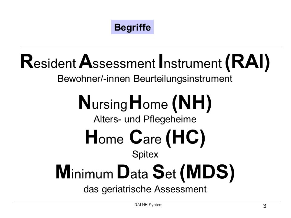 Resident Assessment Instrument (RAI) Nursing Home (NH) Home Care (HC)