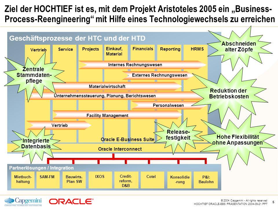 """Ziel der HOCHTIEF ist es, mit dem Projekt Aristoteles 2005 ein """"Business-Process-Reengineering mit Hilfe eines Technologiewechsels zu erreichen"""