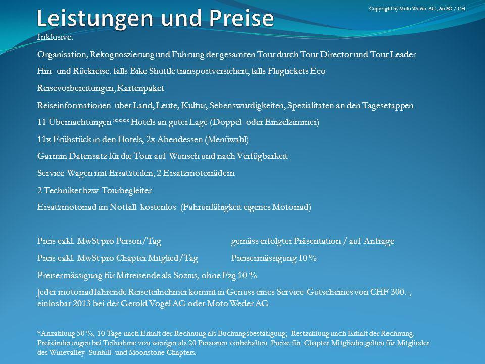 Leistungen und Preise Inklusive: