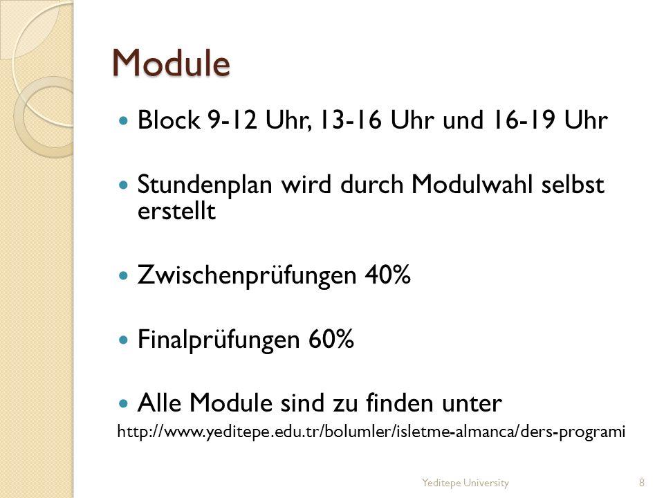 Module Block 9-12 Uhr, 13-16 Uhr und 16-19 Uhr