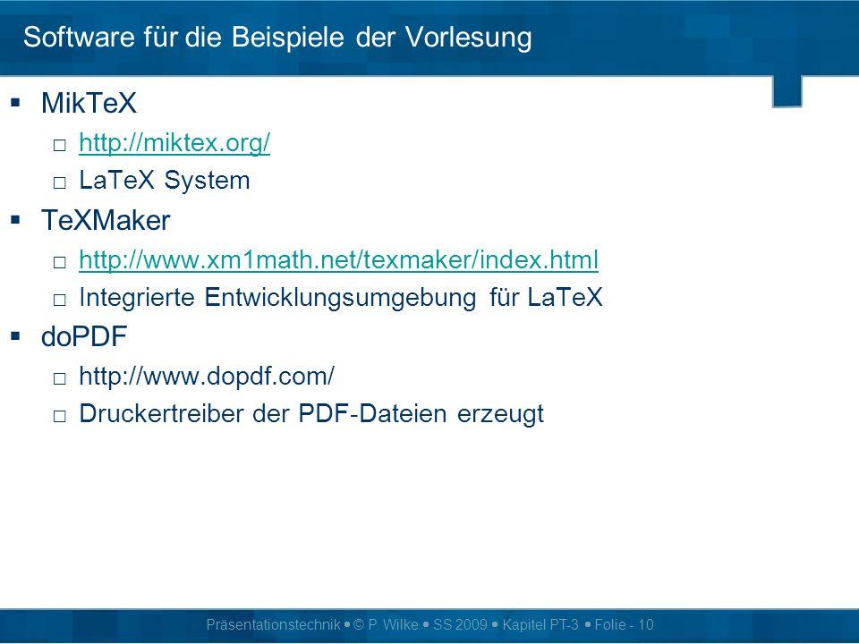 Software für die Beispiele der Vorlesung