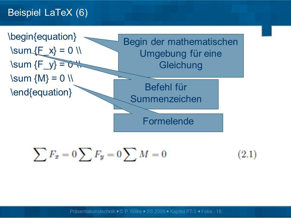 Begin der mathematischen Umgebung für eine Gleichung