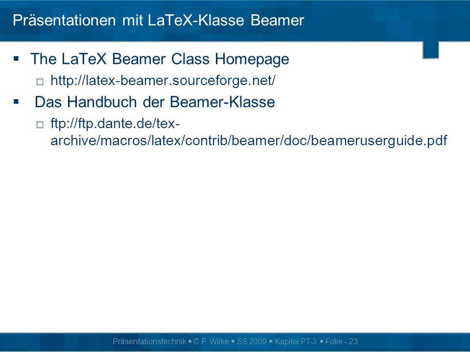 Präsentationen mit LaTeX-Klasse Beamer