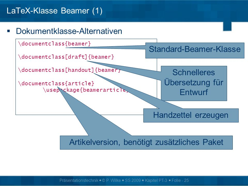 LaTeX-Klasse Beamer (1)