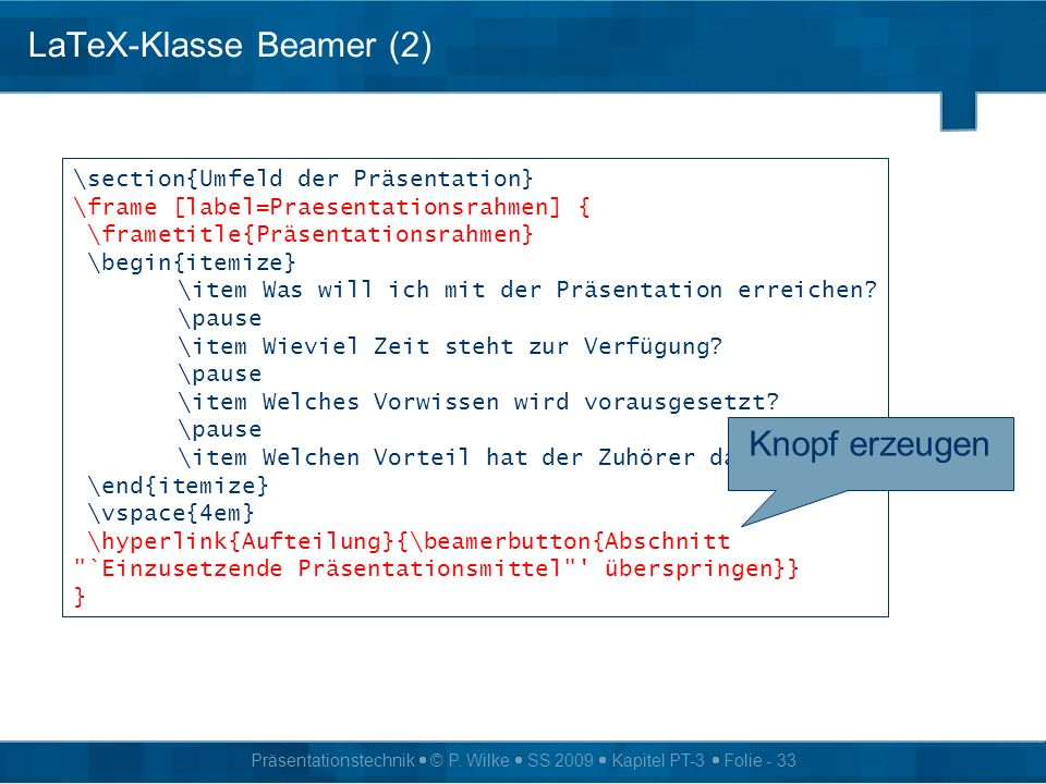 LaTeX-Klasse Beamer (2)