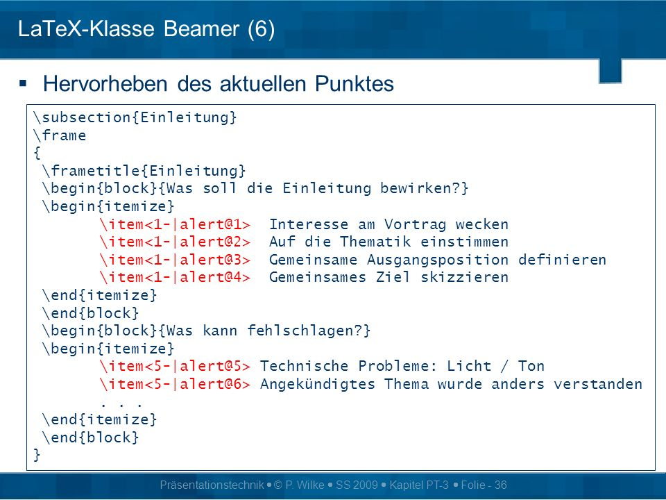 LaTeX-Klasse Beamer (6)
