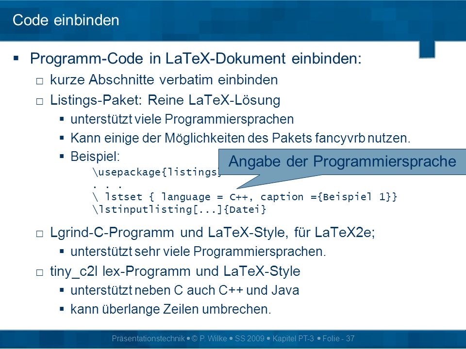 Angabe der Programmiersprache