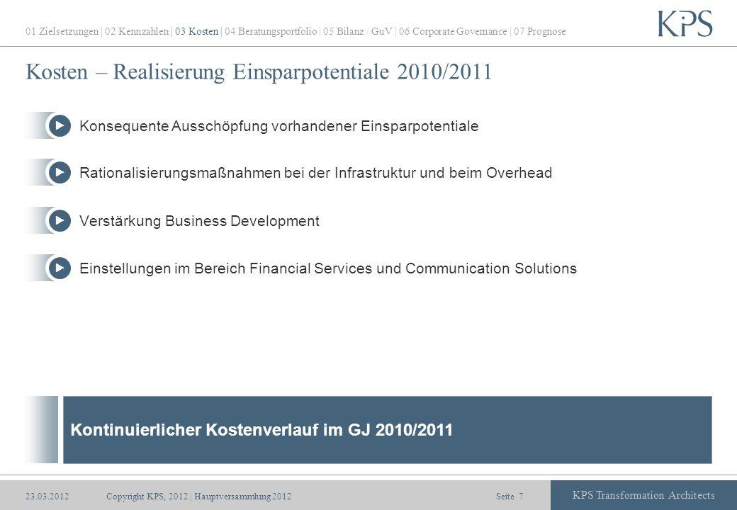 Kosten – Realisierung Einsparpotentiale 2010/2011