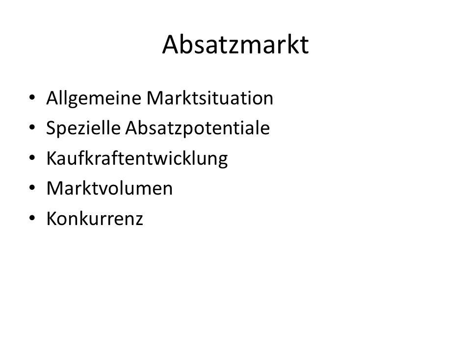 Absatzmarkt Allgemeine Marktsituation Spezielle Absatzpotentiale