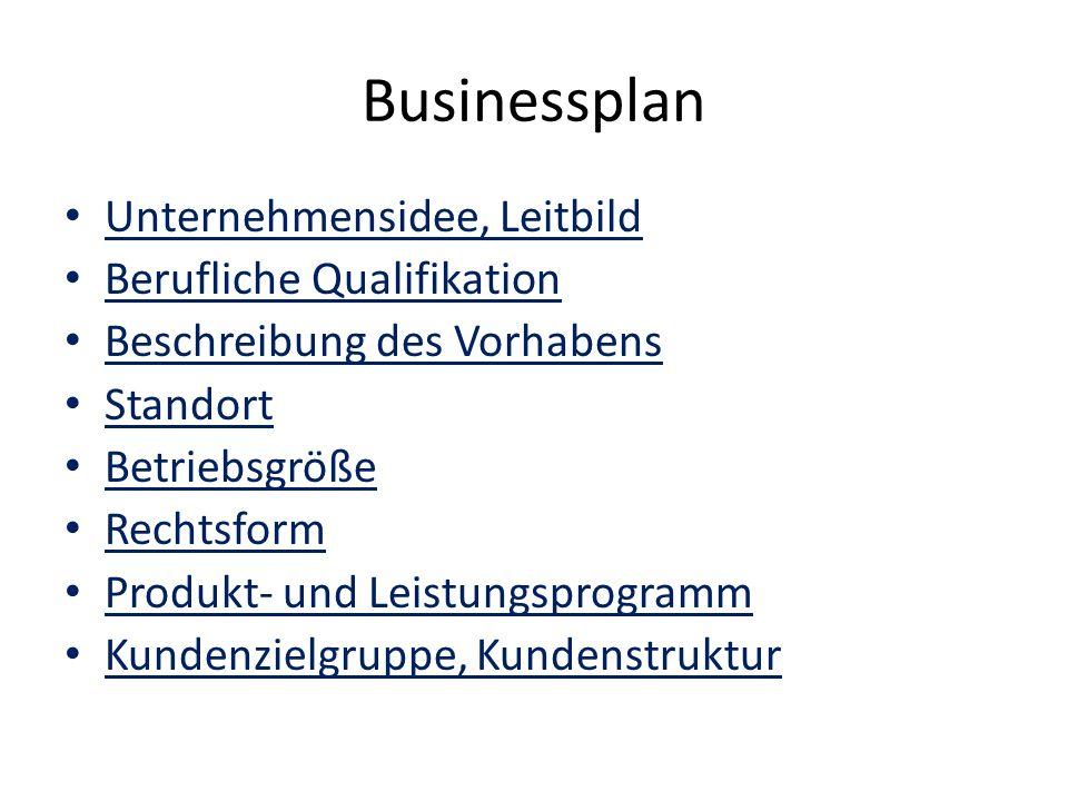 Businessplan Unternehmensidee, Leitbild Berufliche Qualifikation