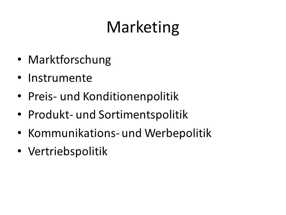Marketing Marktforschung Instrumente Preis- und Konditionenpolitik