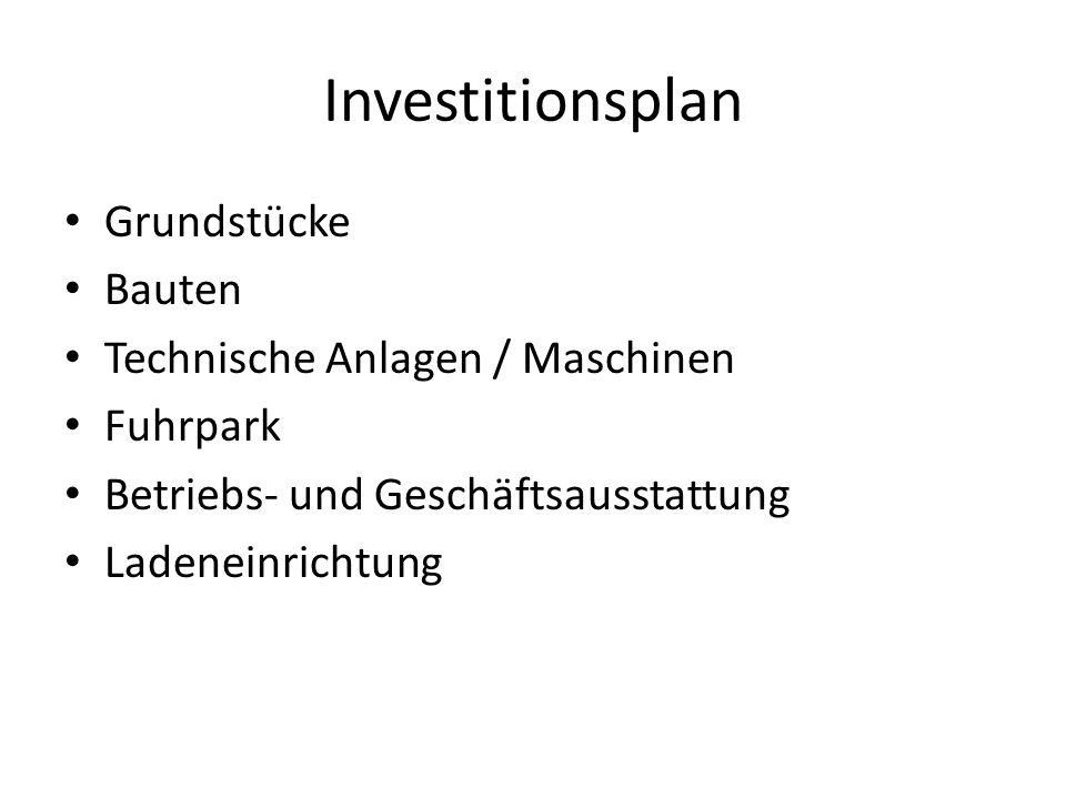 Investitionsplan Grundstücke Bauten Technische Anlagen / Maschinen