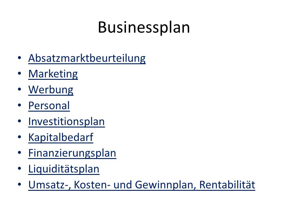 Businessplan Absatzmarktbeurteilung Marketing Werbung Personal