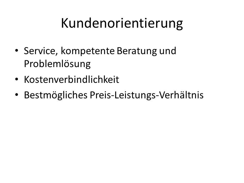 Kundenorientierung Service, kompetente Beratung und Problemlösung
