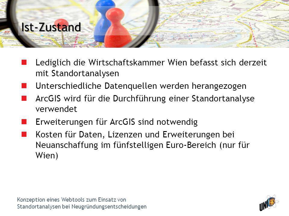Ist-Zustand Lediglich die Wirtschaftskammer Wien befasst sich derzeit mit Standortanalysen. Unterschiedliche Datenquellen werden herangezogen.