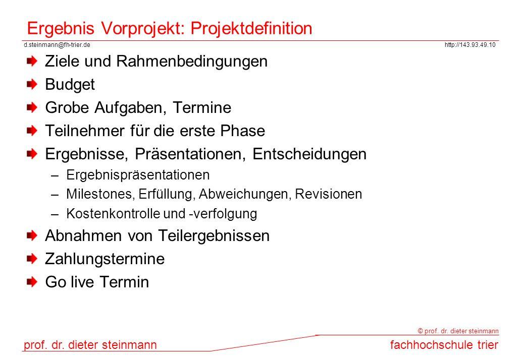 Ergebnis Vorprojekt: Projektdefinition