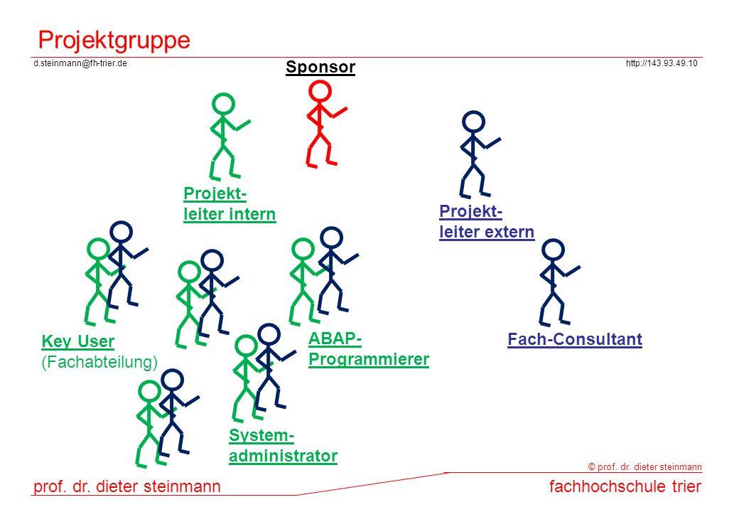 Projektgruppe Sponsor Projekt- leiter intern Projekt- leiter extern