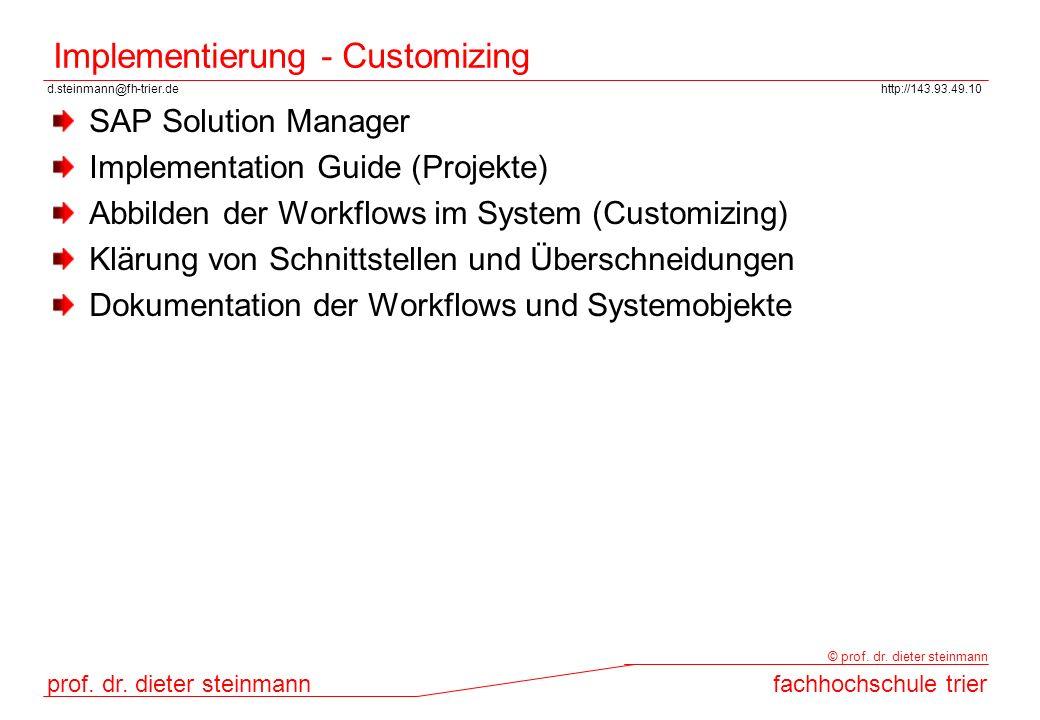 Implementierung - Customizing