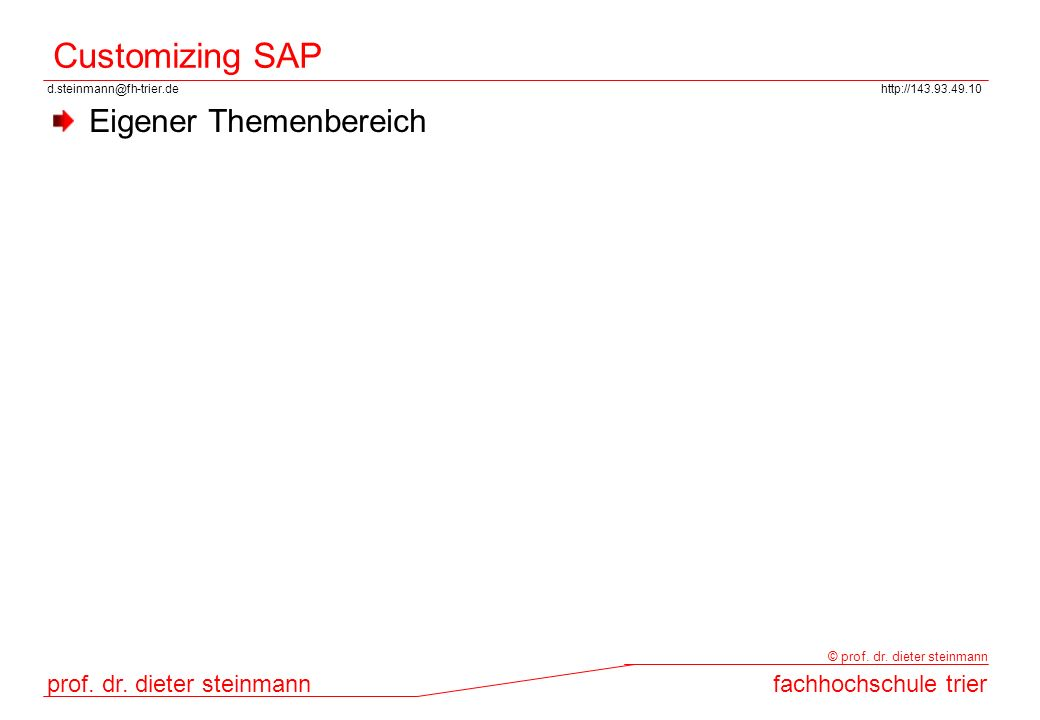 Customizing SAP Eigener Themenbereich