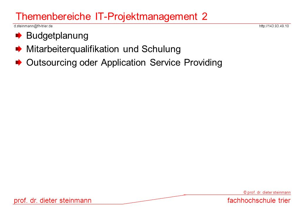 Themenbereiche IT-Projektmanagement 2
