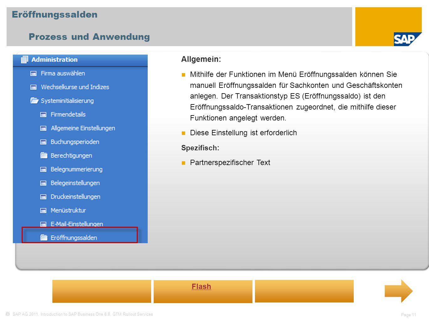 Eröffnungssalden Prozess und Anwendung Allgemein:
