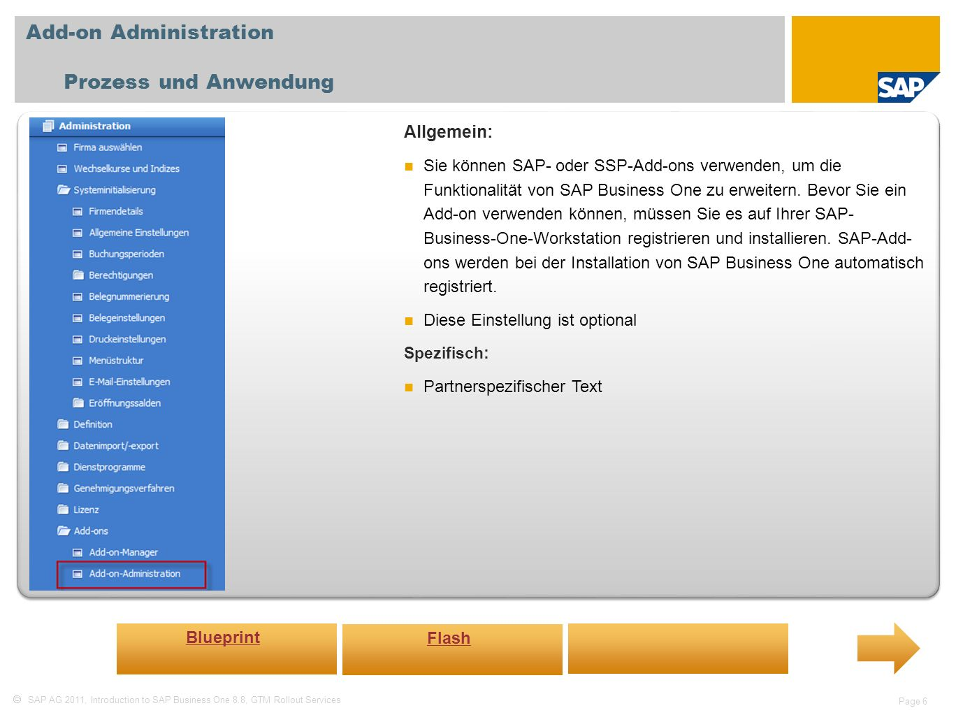 Add-on Administration Prozess und Anwendung