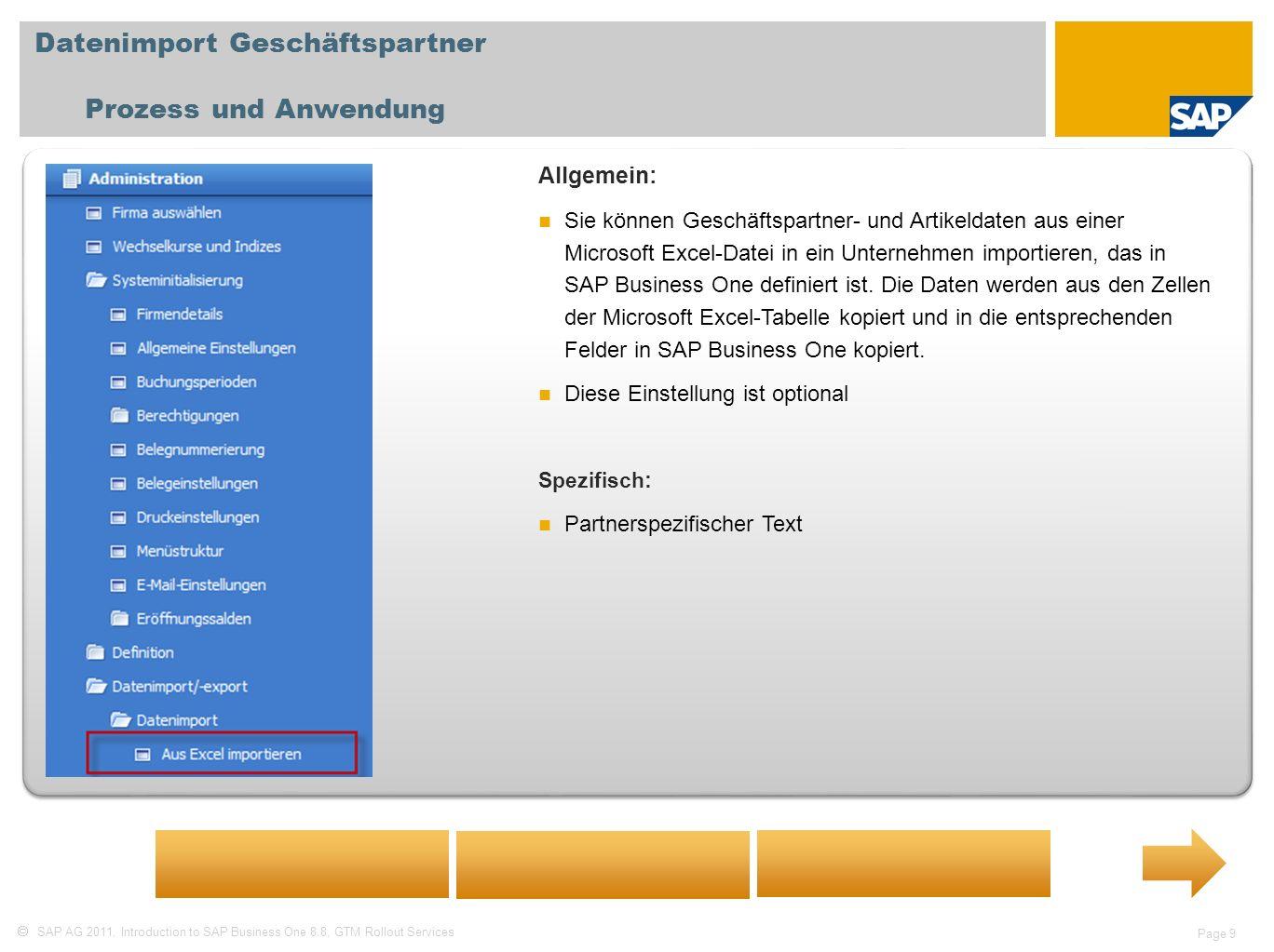 Datenimport Geschäftspartner Prozess und Anwendung