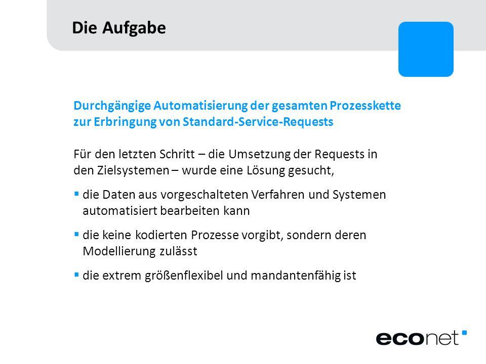 Die Aufgabe Durchgängige Automatisierung der gesamten Prozesskette zur Erbringung von Standard-Service-Requests.