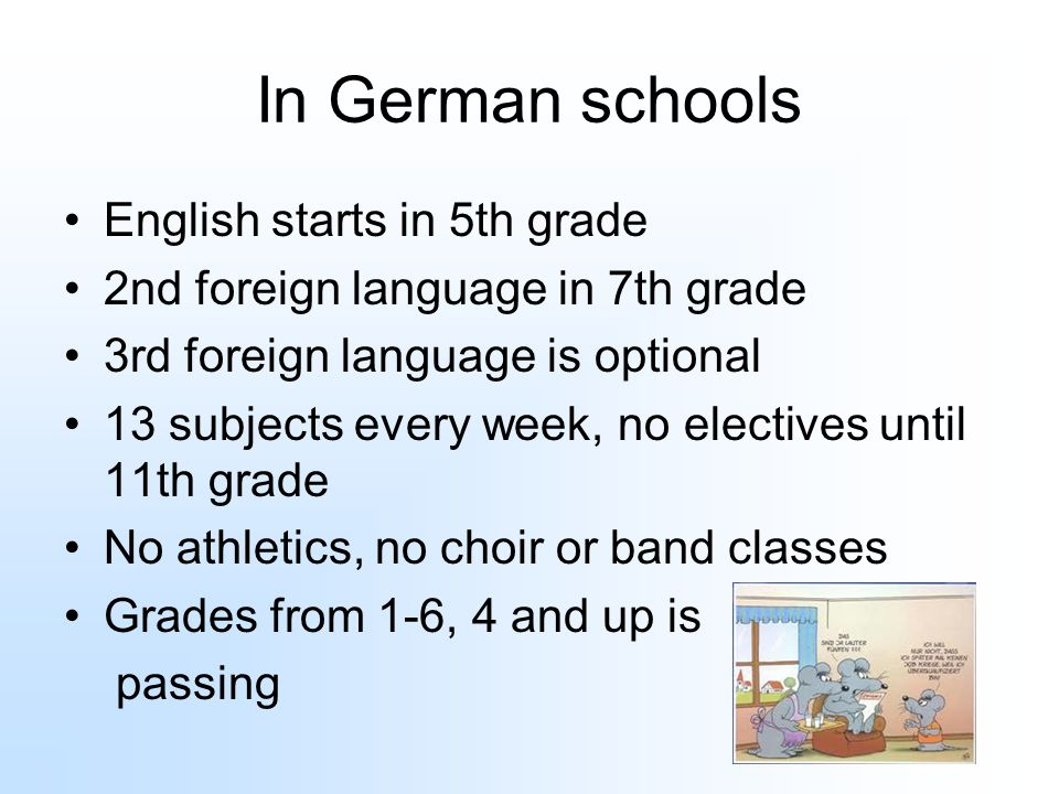 In German schools English starts in 5th grade