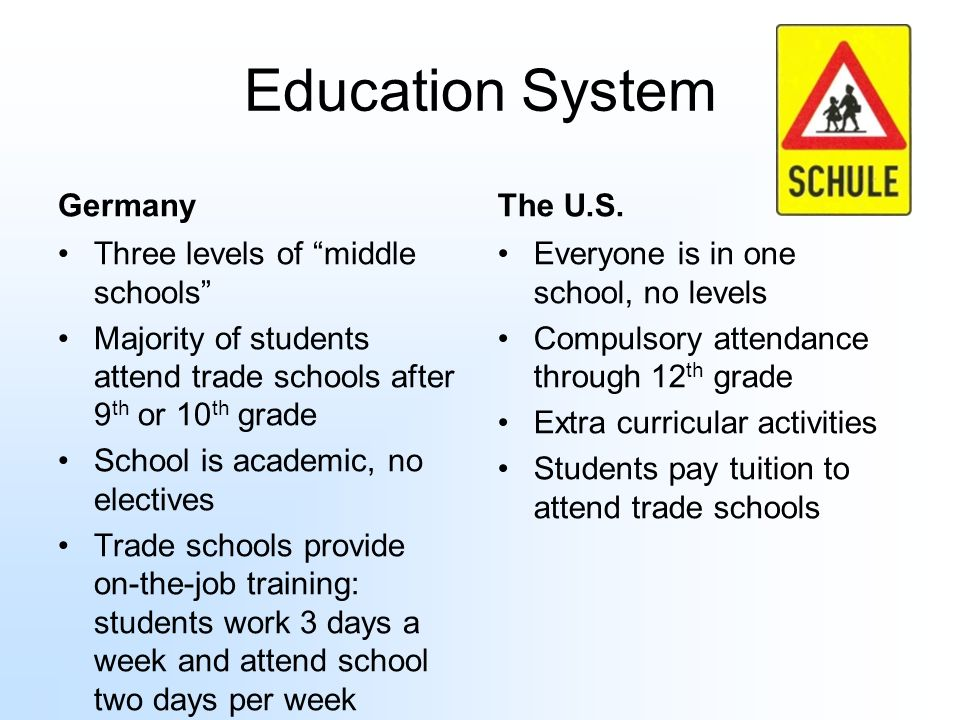 Education System Germany The U.S. Three levels of middle schools