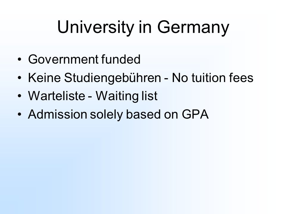 University in Germany Government funded