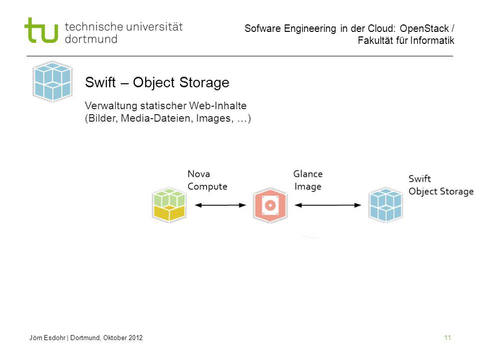 Swift – Object Storage Verwaltung statischer Web-Inhalte (Bilder, Media-Dateien, Images, …) Jörn Esdohr | Dortmund, Oktober 2012.