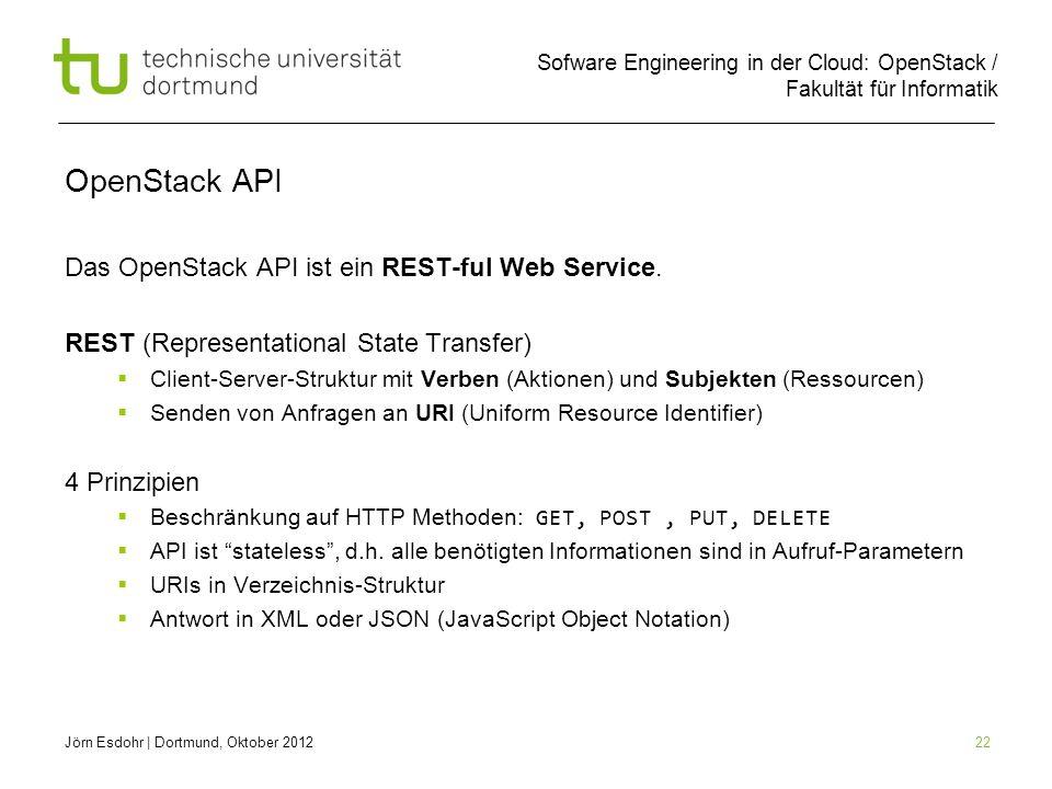 OpenStack API Das OpenStack API ist ein REST-ful Web Service.