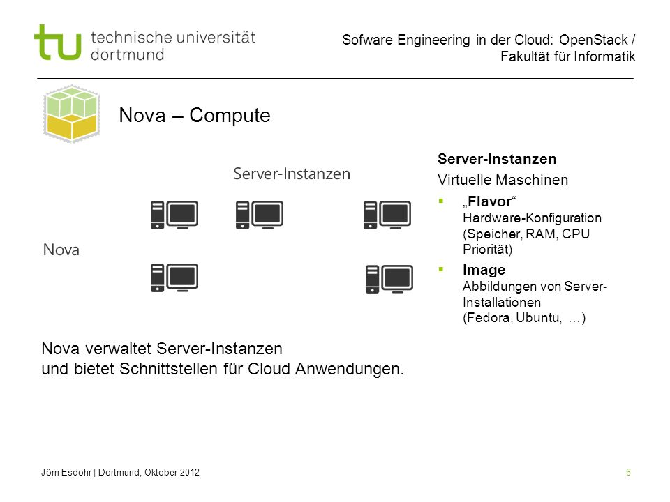 """Nova – Compute Server-Instanzen. Virtuelle Maschinen. """"Flavor Hardware-Konfiguration (Speicher, RAM, CPU Priorität)"""