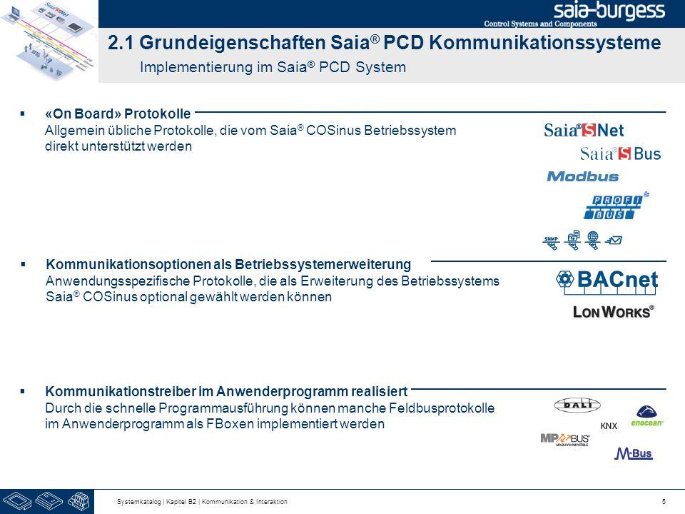 2.1 Grundeigenschaften Saia® PCD Kommunikationssysteme Implementierung im Saia® PCD System