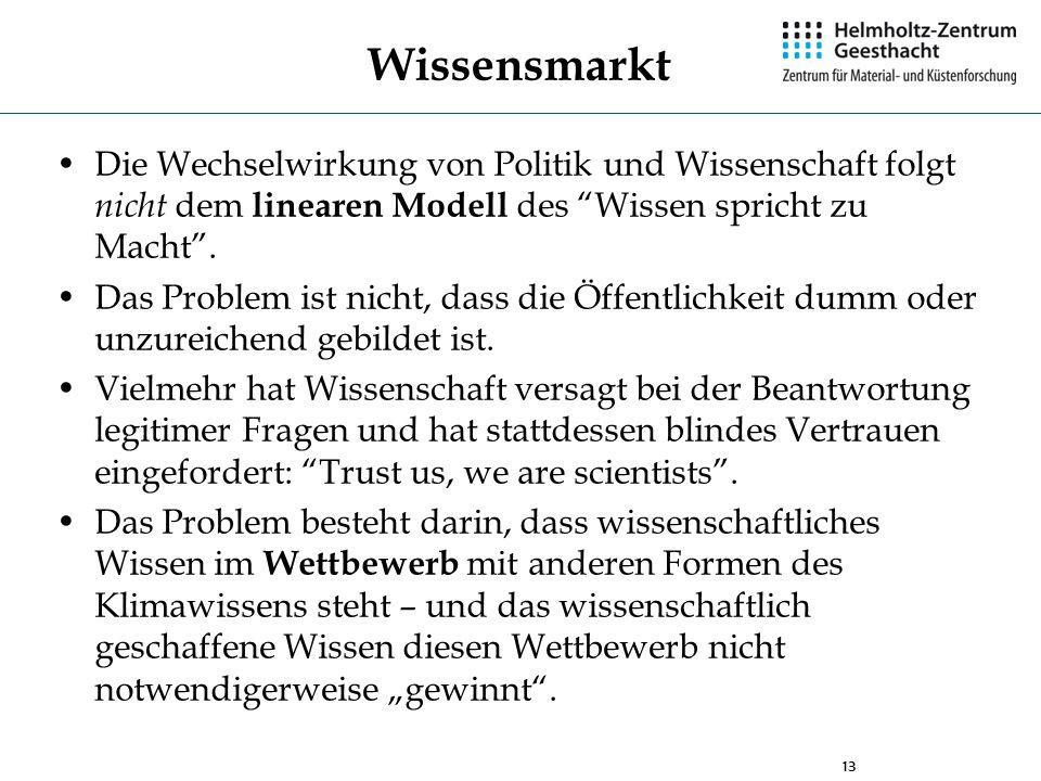 WissensmarktDie Wechselwirkung von Politik und Wissenschaft folgt nicht dem linearen Modell des Wissen spricht zu Macht .